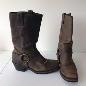 Frye Harness Pull-On Square Toe Leather Boots